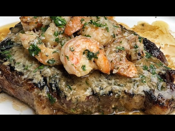 REVERSE SEARED RIBEYE WITH WHISKEY SHRIMP SCAMPI SAUCE