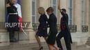 France Brigitte Macron greets Melania Trump at Elysee Palace