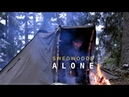 Bushcraft Solo Winter Overnight - 3 Lavvu Canvas Ponchos Tent Setup - Spork Carving - Chicken Grill