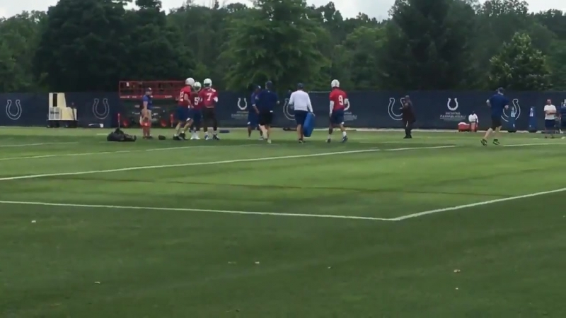 Luck throws! @Colts mini camp off to a hot start