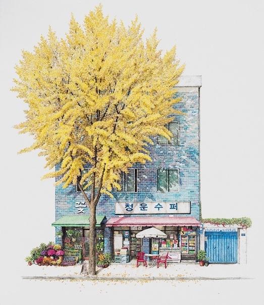 Художница 20 лет рисует магазинчики Южной Кореи Южнокорейская художница Ми Киёнг Ли уже двадцать лет находит красоту там, где другие люди спокойно проходят мимо. Маленькие местные магазинчики