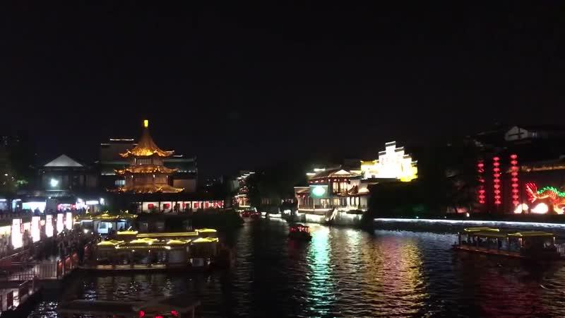 Confucian Temple Area beautiful scenery in night-夫子廟景区 in Nanking, China