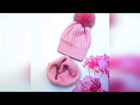 Очень простая теплая шапочка спицами Зефирка