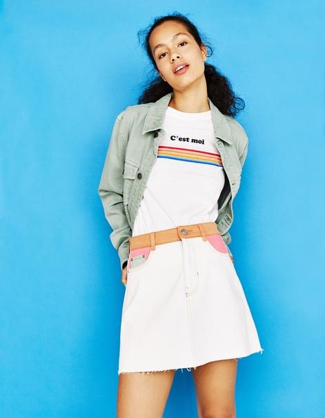 Трехцветная джинсовая юбка