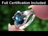 Top Gem Kate Middleton Princess Diana Blue Sapphire &amp Diamond Ring Set In Solid 18K White Gold