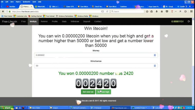 Free litecoin par day 20000 satoshi game Multiply Litecoin 1 COIN WIN