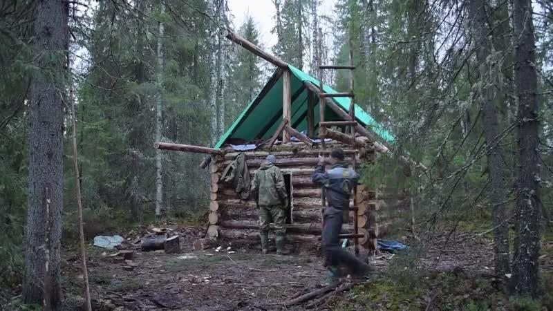 Выживание. Сделай сам. Умелые руки. Строительство избы в глухом лесу своими руками ч.4