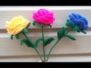 Простая роза крючком со стебельком Часть 4 A simple crocheted rose with a stem Part 4