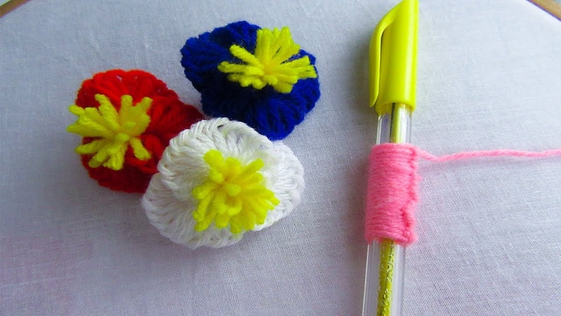 Hand Embroidery Amazing Trick Woolen Flower Embroidery Trick Sewing Hack with Pen