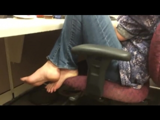 candid girl feet in chair