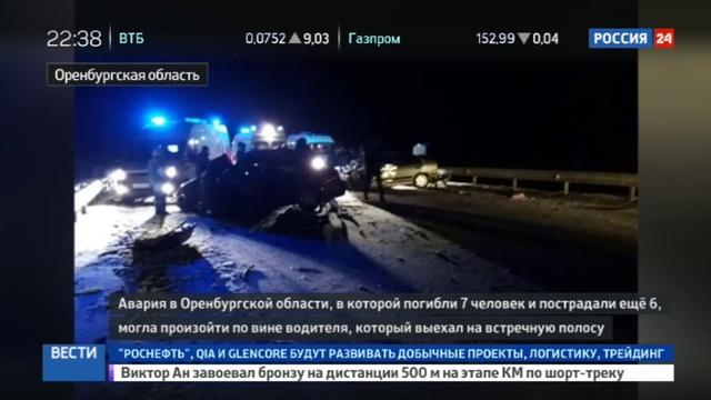 Новости на Россия 24 • Причиной ДТП под Оренбургом мог быть выезд водителя на встречную полосу