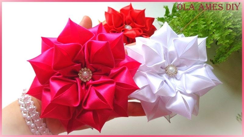 Цветы из лент/ Канзаши/ Hair Flower Tutorial/ Kanzashi Flowers/ Flores de fitas/ Ola ameS DIY