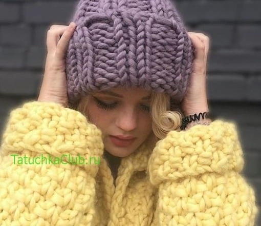 модные шапки крупной вязкой из толстой пряжи вконтакте