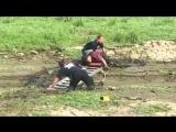 Пожарные спасли увязшего в болоте мужчину с попугаем