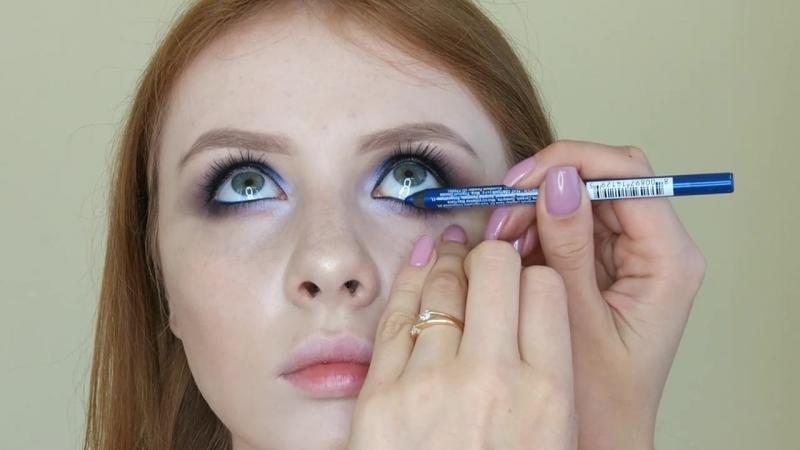 Процесс создания макияжа с пигментом ультрахамелеоном