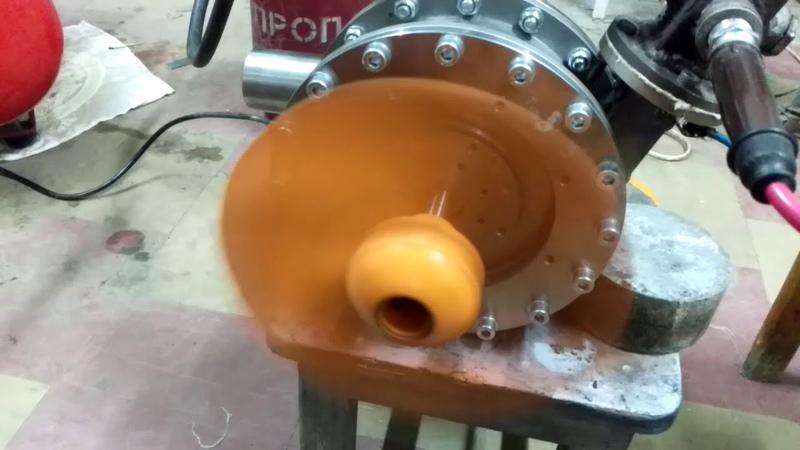 Импульсная турбина Тесла внутреннего сгорания на две свечи зажигания.