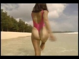 相沢なほこ ハイレグTバック水着 Naoko Aizawa one piece thong swimsuit with bikini tan lines!