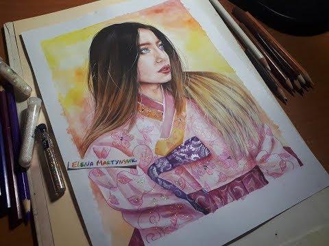 NADYA DOROFEEVA | Korean hanbok [Crossing cultures] drawing (by Elena Martynyuk)