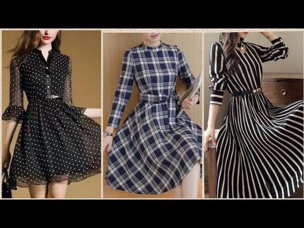 New Stylish Check Lining Dots Pattern Frock Style Kurties Designs For Girls