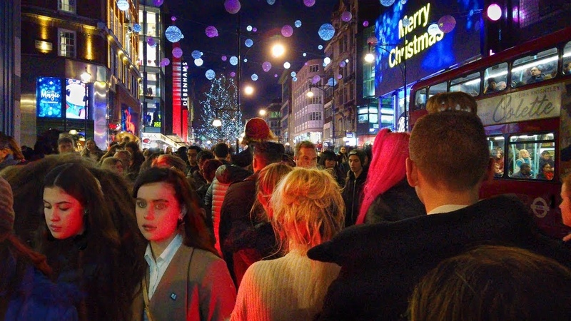 London Night Walk Crowded Oxford Street Packed with Shoppers UK