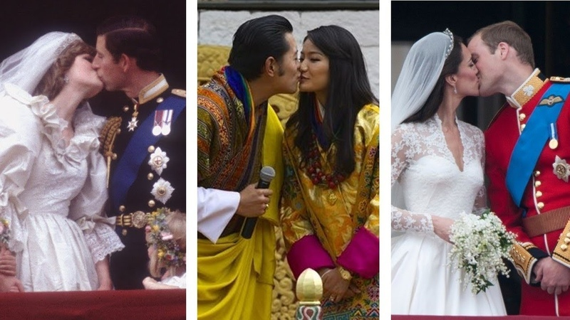 Royal wedding kisses throughout the years