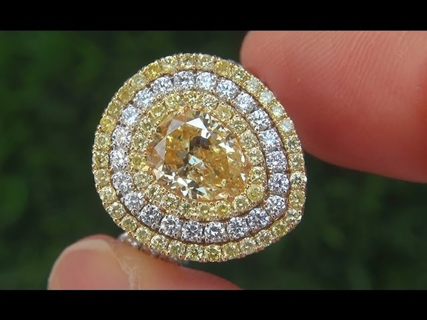 GIA Certified SI2 Natural Fancy Yellow Diamond 18k Gold Engagement Ring Pendant - C369