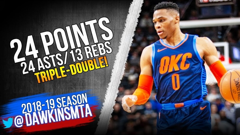 Russell Westbrook UNREAL Triple Double 24 Pts 24 Asts 13 Rebs 2019 01 10 vs Spurs