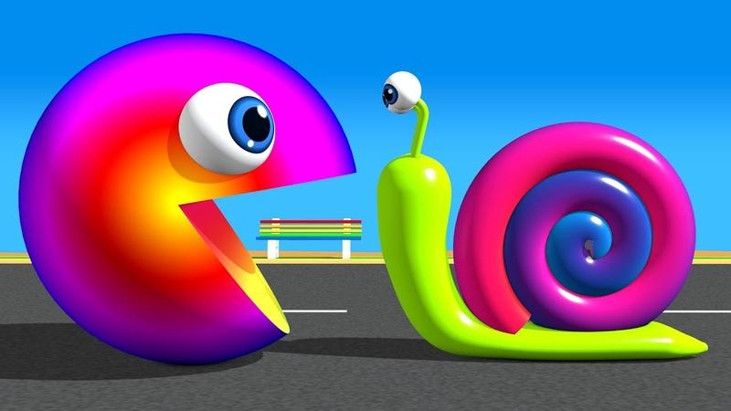 Pacman Gặp một số bạn bè, ốc sên, kẹo và slide đầy màu sắc