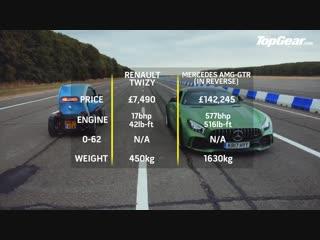 Mercedes-AMG GT R (IN REVERSE!) vs Renault Twizy _ Drag Races _ Top Gear