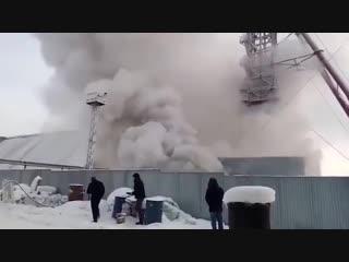 В Сети появилось видео пожара на шахте в Пермском крае (Соликамск, Уралкалий) 22 декабря.