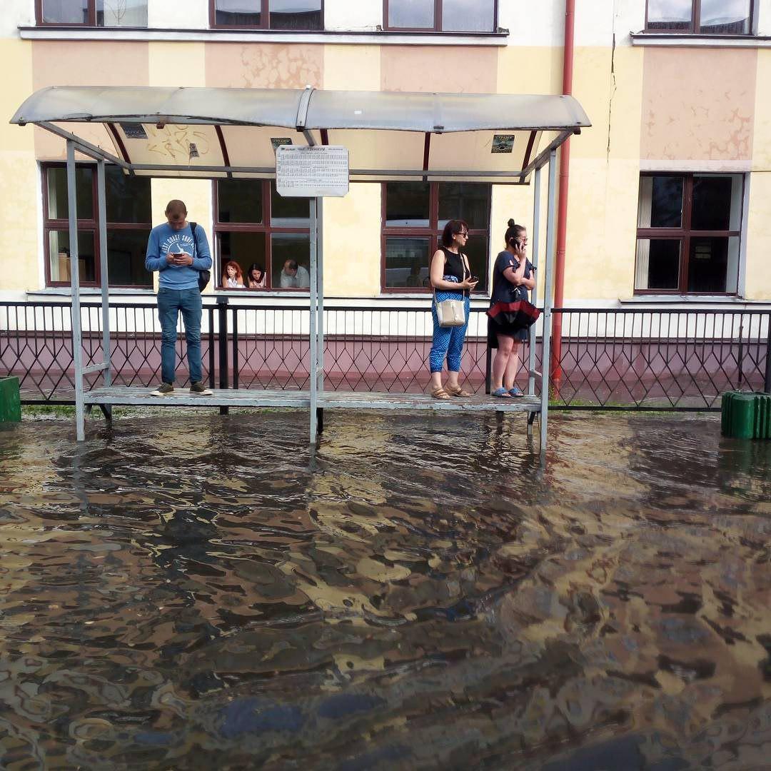 Более 80% месячной нормы осадков выпало в Бресте за день 12 июля 2018 года