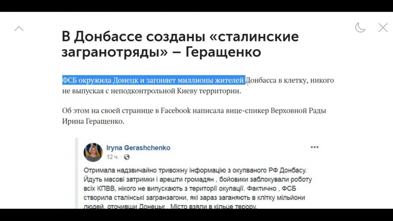 В Донбассе созданы «сталинские загранотряды» – Геращенко