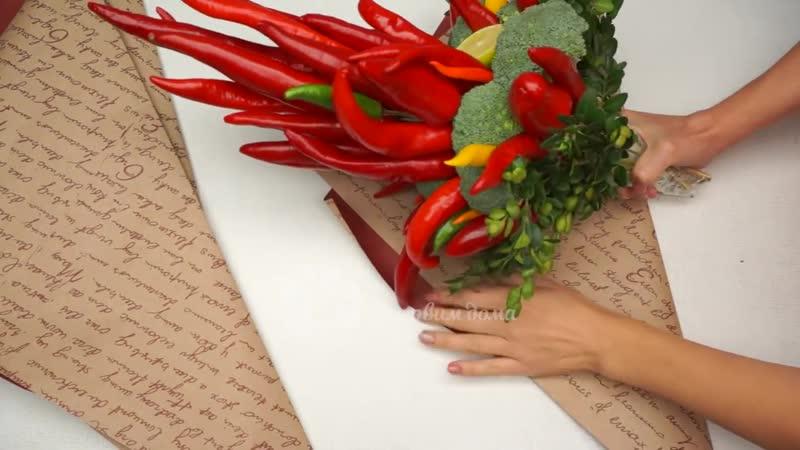 Съедобный букет из овощей и острого перца своими руками