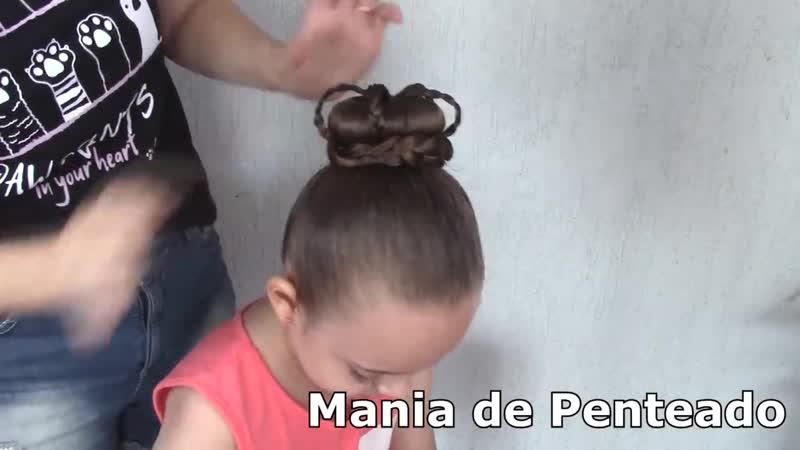 Penteado Infantil com coque rosquinha e tranças em formato de coroa