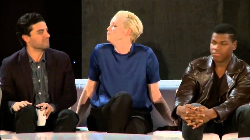 Gwendoline Christie, Oscar Isaac and John Boyega sing together in The Force Awakens Press Conference