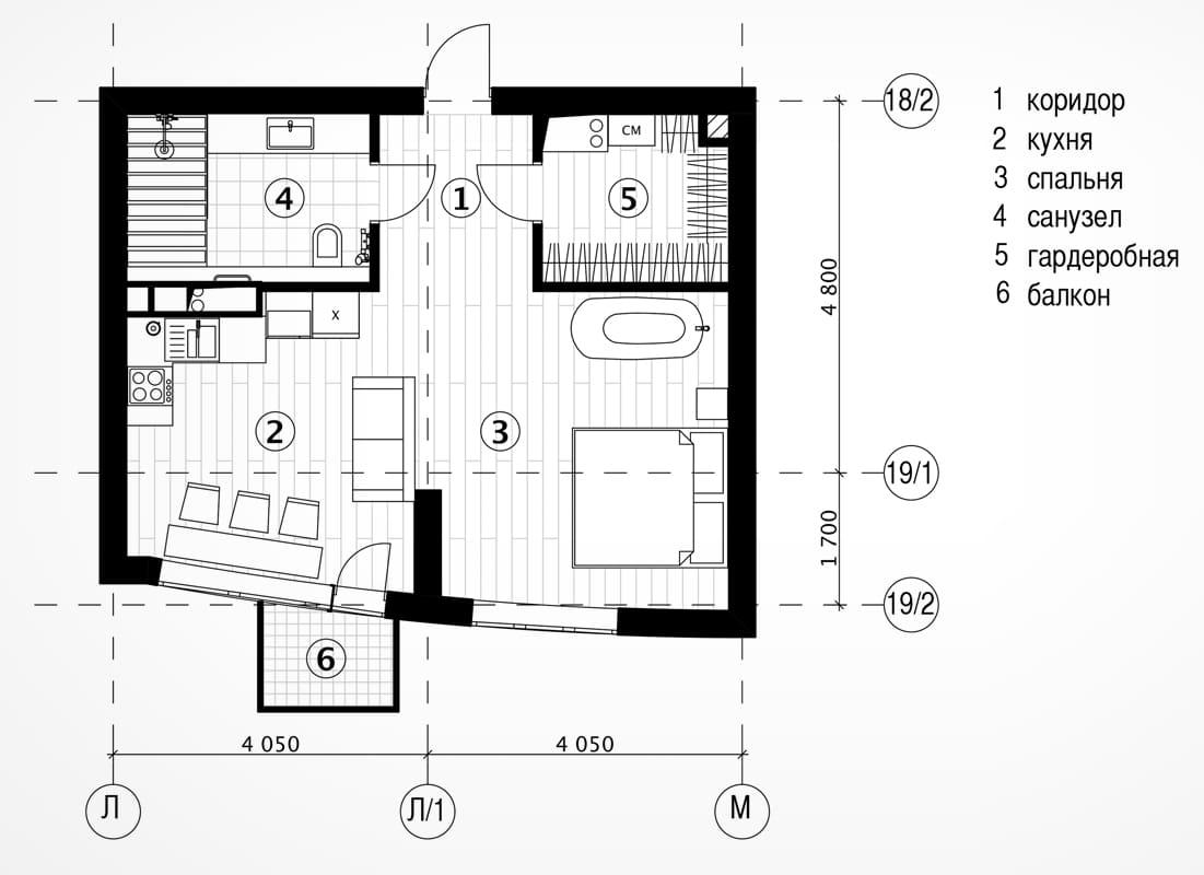 Дизайн однокомнатной квартиры, 45 кв.