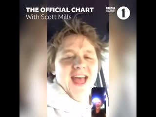 Its FOUR WEEKS at the top of the @OfficialCharts for @LewisCapaldi - - @scott_mills told him the news and his reaction was brill
