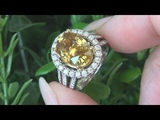 Double GIA Custom Estate Top Gem VVS Yellow Zircon Diamond 14k Gold Cocktail Ring C938