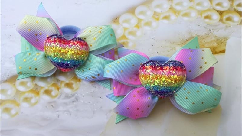 Новые бантики из радужной ленты , мк /New bows of rainbow ribbon/ Nuevos arcos de cinta arcoiris.