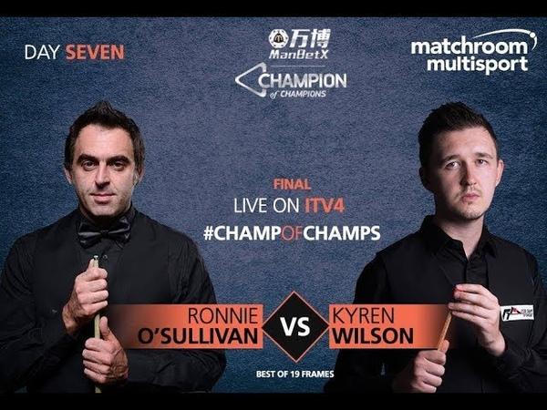 Ronnie O'Sullivan vs Kyren Wilson รายการ ManBetX Champion of Champions 2018 รอบ FINAL S1 P2