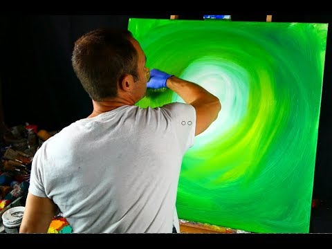 Creating green landscape painting - acrylic paint, pallet knife, round brush, wood grain tool