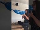 Girl blow Giant Happy Birthday Balloon