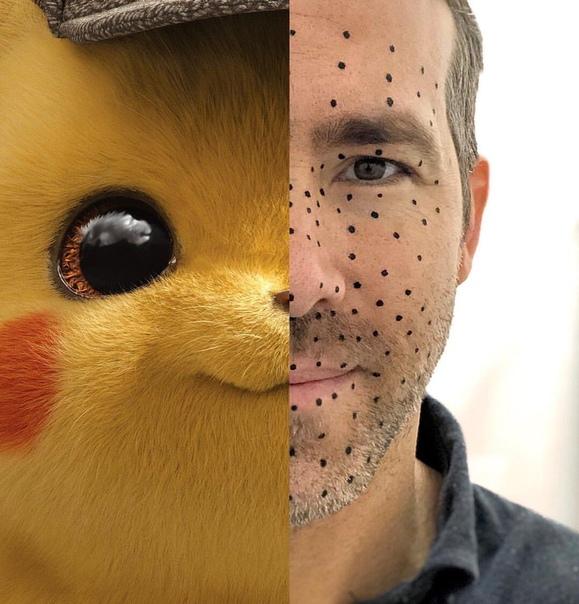 Райан Рейнольдс в образе Пикачу на фото из фильма «Покемон»