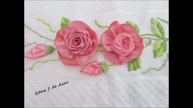 Bordado Rosa de Fita feita com uma técnica diferente