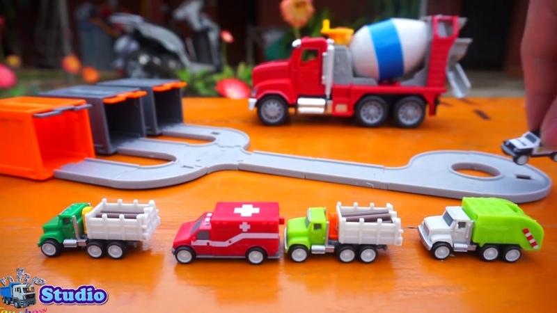 Мультик про машинки Мусоровоз Бетономешалка полицейские автомобильные игрушки