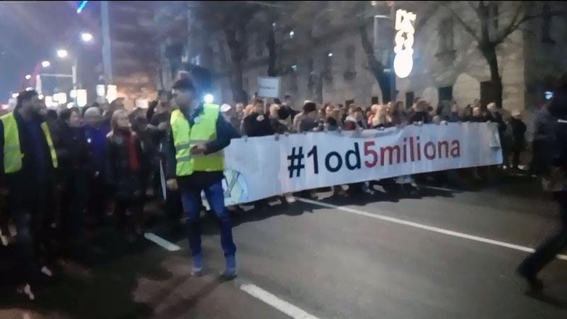 Treći protest protiv nasilja u Beogradu pod sloganom: Jedan od pet miliona - 22.12.2018