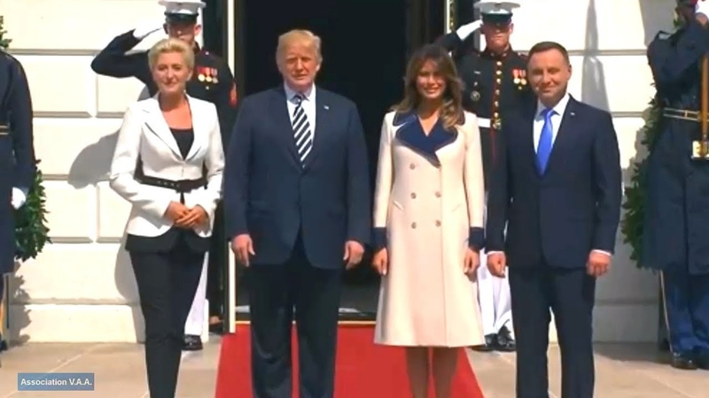 President Trump and First Lady Melania Trump participate in the arrival of the President of the Repu