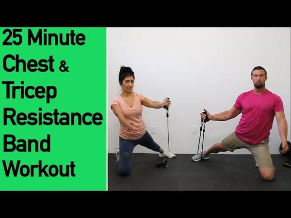 Chest and Tricep Resistance Band Workout 🔥Burn It and 💪🏽Build it 25 Minutes