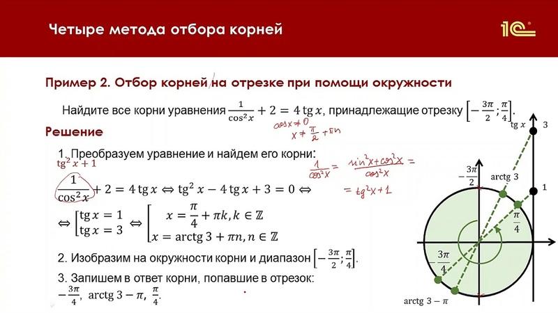 Отбор корней уравнения на отрезке при помощи тригонометрического круга Асташова И В.Урок 2