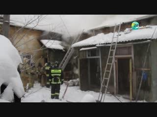Пожар в центре Кургана. Комсомольская и Советская в дыму